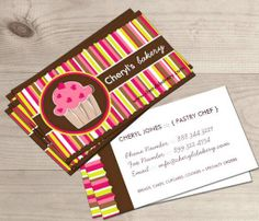 Cute and Whimsical Cupcake Bakery Business Cards This great business card design is available for customization. All text style, colors, sizes can be modified to fit your needs. Just click the image to learn more! | bizcardstudio.co.uk