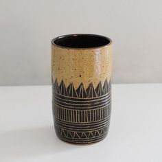 Hand-built by Lindsey Schneider of Little Bear Pots, this generously-sized piece can be used as a drinking cup and can also double-up as a beautiful vase. Made