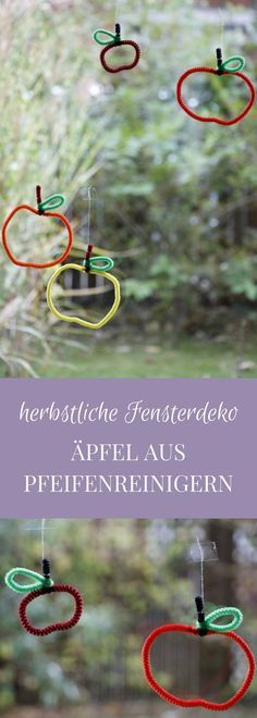 Geschenkanhänger oder Herbst-Fensterdeko: Äpfel aus Pfeifenreiniger Pipe cleaner apples are a creative autumn window decoration. The pipe cleaner craft idea is also suitable as a craft idea for childr Autumn Crafts, Fall Crafts For Kids, Diy For Kids, Diy And Crafts, Fall Window Decorations, Decoration Table, Fall Decor, Pipe Cleaner Crafts, Pipe Cleaners