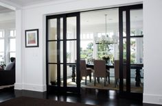 40 Stunning Sliding Glass Door Designs For The Dynamic Modern Home Rocky Ledge Dining Room – contemporary – dining room – boston – LDa Architecture & Interiors Glass Pocket Doors, French Pocket Doors, Estilo Interior, Esstisch Design, Sliding Door Design, The Doors, Entry Doors, Dark Doors, Elegant Dining