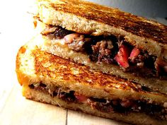 Pulled Short Rib Grilled Cheese with Pickled Red Onions