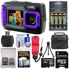 Coleman Duo 2V9WP Dual Screen Shock & Waterproof Digital Camera (Purple) with 32GB Card + Batteries & Charger...
