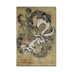 Two Japanese Kitsune Original Painting on by MaliceInUnderlandArt