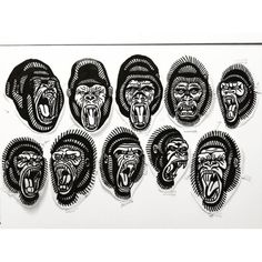 Embroidered tattoo patches with apes on Behance Traditional Tattoo Gorilla, Traditional Black Tattoo, Traditional Tattoo Old School, Traditional Tattoo Design, Traditional Flash, American Traditional, Old School Tattoo Designs, Tattoo Designs Men, Gorilla Tattoo
