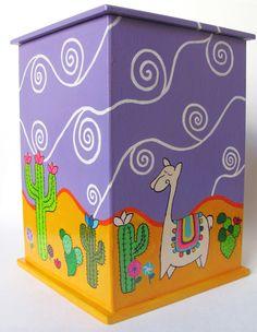 Caja pintada a mano con acrílico y barnizada. Ventana de vidrio. Medidas: 19,5 x 13,5 x 13,5. contacto@amanopla.com.ar Decoupage Art, Decoupage Vintage, Wood Crafts, Fun Crafts, Diy And Crafts, Fabric Painting, Painting On Wood, Acrilic Paintings, Painted Flower Pots