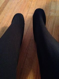Tall girl problems: method of choice for stretching out yoga pants that are too short.