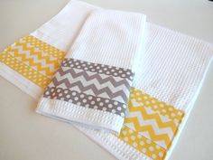 Set of 2 Towels kitchen towels grey and yellow yellow by AugustAve, $36.00