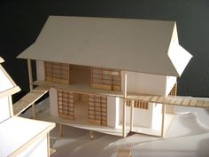 A project for a studio class. In teams of we built houses that fit an architectural style and integrated them into an environment with a shared common area and walkway. Our group chose a traditional Japanese theme. Japanese Modern, Compact Living, Common Area, Drafting Desk, Building A House, Environment, Behance, Architecture, Projects