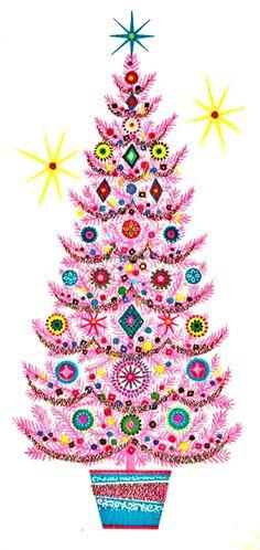 vintage Christmas pink and teal tree retro MCM - Adventsillustrationen - Pink Christmas Tree, Christmas Art, Christmas Greetings, Winter Christmas, Christmas Ideas, Christmas Glitter, Christmas Cooking, Vintage Christmas Images, Modern Christmas