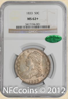 1833 Capped Bust Half MS62+ NGC, obverse ~ CAC