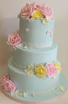 wedding cake #pink #yellow #blue