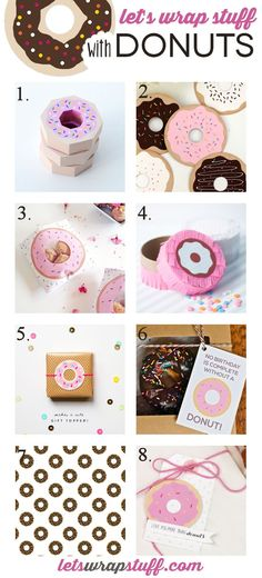 A collection of 8 different donut gift wrap ideas, from free printable gift tags, to handmade donut treat boxes. Perfect for giving donuts, or any occasion.