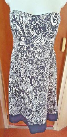 2b380c3e91c0 Coast Black  amp  White Floral Strapless Dress size 12 Wedding Cruise Races  Holiday  Coast