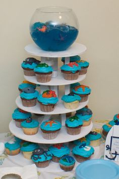 1st birthday ocean / sea theme cupcake tower w/ jello aquarium topper