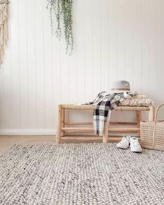 White shiplap walls, casual seating and beautiful textural neutral rugs are perfect for a Coastal Style. See how to achieve a classic laid back Australian Coastal look here. Coastal Rugs, Coastal Living Rooms, Coastal Style, Rugs In Living Room, Bedroom Rugs, Bedroom Carpet, Coastal Colors, Coastal Decor, Bright Colors