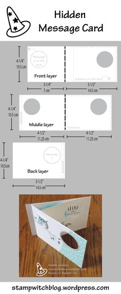 Hidden message card tutorial: a new message slides into the hole when the card is open! Design by Natalie Lapakko.