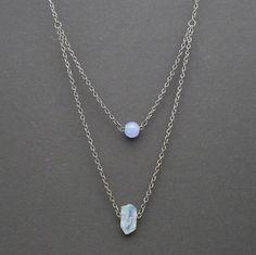 Layered Boho Crystal Necklace Aqua Aura Quartz by AkashaBodyArt
