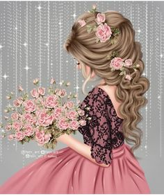 Hair illustration – fashion illustration – Fashion art print – best friend gift – gifts for her – hair art – feminine wall art – custom Beautiful Girl Drawing, Cute Girl Drawing, Girl Drawing Sketches, Girly Drawings, Sarra Art, Lovely Girl Image, Girly M, Cute Cartoon Girl, Cute Girl Wallpaper