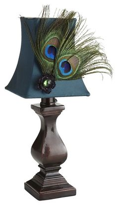 Mini feather peacock lamp at www.houzz.com