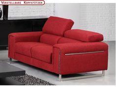 2-Sitzer-Sofa Stoff Milady Federkern - Rot