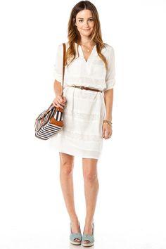 ShopSosie Style : Lace Stripe Shift Dress in White