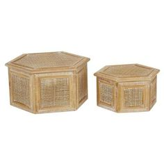 Wooden Storage Boxes, Wooden Jewelry Boxes, Decorative Storage, Wooden Boxes, Rattan, Wicker, Wooden Box With Lid, Hexagon Box, Brown Wood