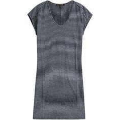 Rag & Bone Anya Cotton-Linen T-Shirt Dress ($130) ❤ liked on Polyvore featuring dresses, stripes, navy dress, slimming slip, navy striped dress, tee shirt dress y cotton slip