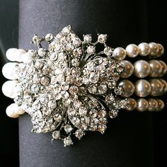 Victorian Style Bridal Cuff Bracelet Vintage Wedding by luxedeluxe, $124.00