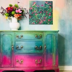 Hand Painted Dressers, Funky Painted Furniture, Chalk Paint Furniture, Refurbished Furniture, Upcycled Furniture, Furniture Makeover, Cool Furniture, Colorful Furniture, Decopage Furniture