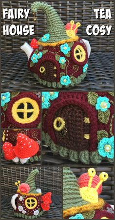 Amazing Fairy House Tea Cosy : Check out this super adorable crocheted Fairy House Tea Cozy! Look at the detail! It's so crazy! Crochet Fairy, Crochet Home, Crochet Crafts, Hand Crochet, Crochet Projects, Free Crochet, Beginner Crochet, Crochet Granny, Diy Projects