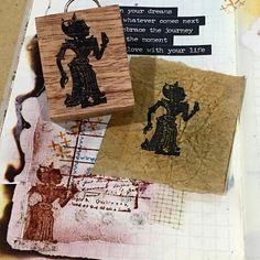 Wayang Kulit Shadow Puppet W1 rubber art stamp
