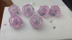 Hand cast glitter resin roses pink drawer knobs/handles