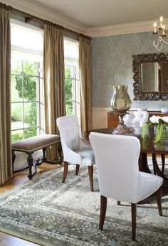 Sitting room with blue gray gold wallpaper chairs with nail head people also love these ideas fandeluxe Choice Image