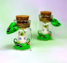 Totoro bottle charm, polymer clay, isa_handmade, isabella coppola, boccette, fimo