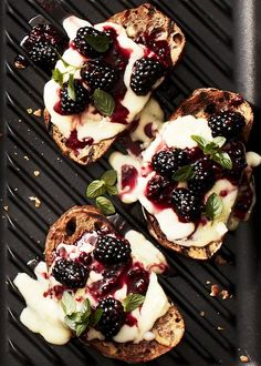 Walnut Toasts with Gruyere and Blackberries