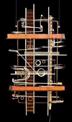 Marble Run Sculpture, Rolling Ball Sculpture, Metal Art Sculpture, Wall Sculptures, Marble Tracks, Marble Ball, Marble Machine, Kinetic Art, Unusual Things
