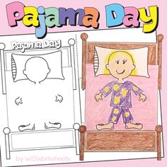 Pajama Day: Pajama Day Craft and Activities to celebrate Pajama Day in your classroom. Dr Seuss Activities, Library Activities, Kindergarten Activities, Pajama Day At School, The Napping House, 1st Grade Crafts, Pj Day, Theme Days, Classroom Crafts