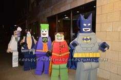 These Batman Heroes and Villains costumes were a ton of work but so much fun to wear. We strolled down the streets downtown and people were shriekin... Kids Joker Costume, Lego Costume, Movie Halloween Costumes, Lego Halloween, Batman Costumes, Halloween Costume Contest, Boy Costumes, Clever Costumes, Costume Ideas