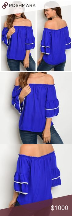 🚨COMING SOON🚨 Blue Off Shoulder Top Beautiful off shoulder top just in time for spring! I will have more information on the measurements when the item arrives! Make sure to like this listing to be notified when the item arrives! Tops Blouses