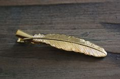 FLOCK Feather Hair Clip in Gold