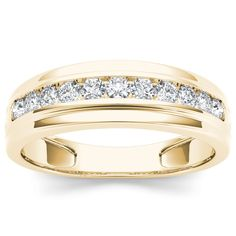 Seal your commitment to him with this yellow gold wedding band that is just his style. Emitting pristine brilliance at the center, five round diamonds are channel set that reflect light within the gold band.