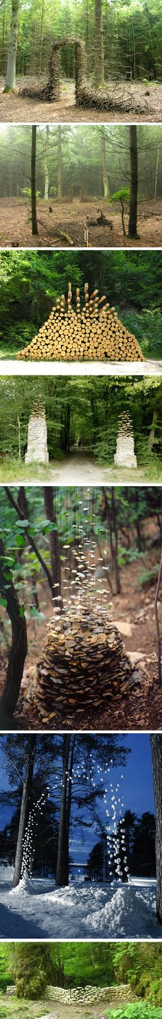 The German artist Cornelia Konrads creates hallucinating in situ installations in public spaces, parks and private gardens throughout the world.His work is often punctuated by the illusion of weightlessness, when stacked objects (branch, log, stone) seem