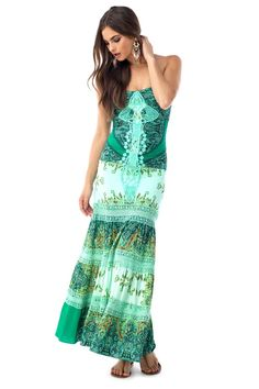 Is green your color?  Then grab this strapless maxi before it's gone with it's layered pattern print and lace you'll be glad you got it.    92% Viscose  8% Elastane  Made in the USA    Model is wearing XS