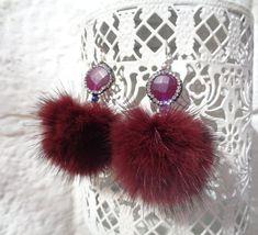 genuine cute Mink Fur Earrings  18K gold plated sterling silver Nickel free hooks Wine Red Pom pom real fur earrings Dark wine red