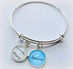 Custom Handwriting Alex and Ani style Adjustable Bangle Charm Bracelet -Personalized Handwriting, Drawings, Sonograms, Footprints or Photos.