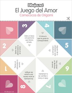 Manualidad: Un Comecocos del Amor para Imprimir y jugar Origami, Paper Child, Pen Pal Letters, Ice Breakers, Spanish Lessons, Piano Lessons, Boyfriend Gifts, Diy And Crafts, Printables