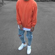 Orange sweatshirt layered over white tee, heavily distressed denim with white & green Air Force = Major Flamer Miami Hurricane Colored fit! Stylish Mens Outfits, Casual Outfits, Men Casual, Nike Outfits For Men, Mens Fashion Outfits, Summer Outfits Men, Men Summer, Fashion Men, Street Fashion