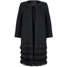 Amanda Wakeley Ebel Coat (1,415 CAD) ❤ liked on Polyvore featuring outerwear, coats, jackets, coats & jackets, black, evening coat, fringe coat, black coat and amanda wakeley