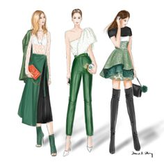 Street Style at MBFWA 2016, Sydney; fashion illustration by Draw A Story.