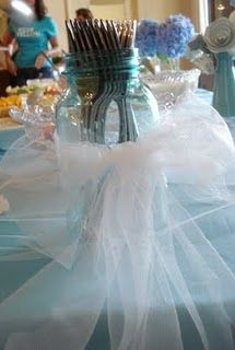 silly but when you think about it you have to do something with the silverware & i think this is a cute way of doing it Bridal Shower, Baby Shower, Utensil Holder, Beach Party, Shower Ideas, Something To Do, Glass Vase, Parties, Party Ideas